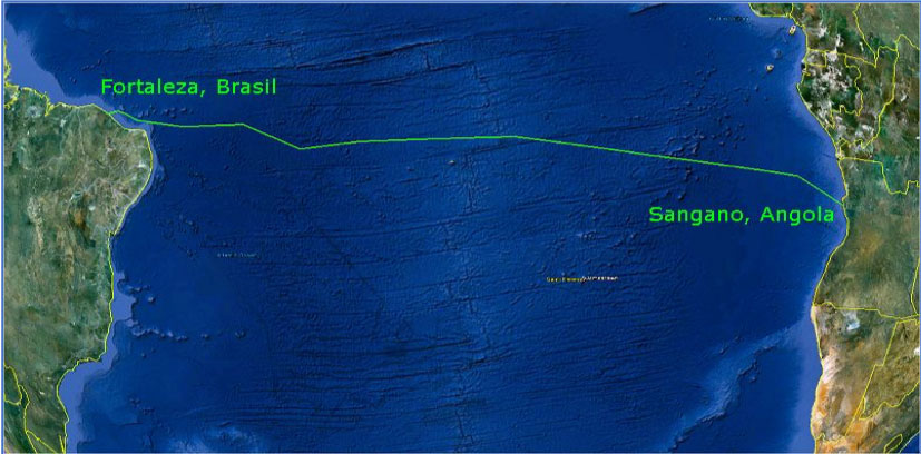 SACS PA Press Release Picture Route Map of the South Atlantic Cable System SACS